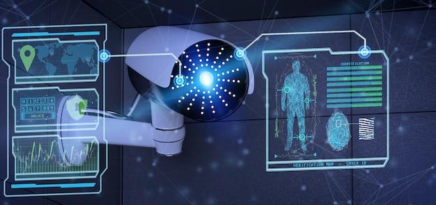 防犯カメラシステムの認識および検出ソフトウェア -  3dレンダリング