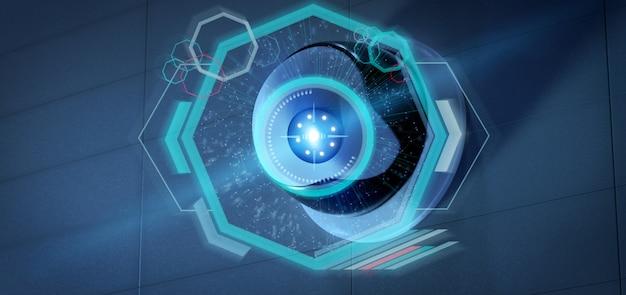 Камера слежения, нацеленная на обнаруженное вторжение - 3d-рендеринг