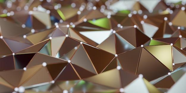 Вид абстрактной структуры соединения с подключением точек и линий - 3d-рендеринга