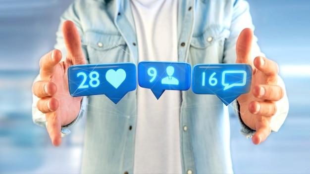 Бизнесмен держит лайк, подписчик и сообщение уведомления в социальной сети - 3d визуализации