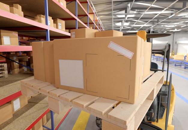 Картонная коробка на складе - 3d-рендеринг