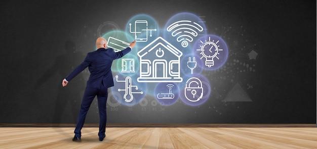 Бизнесмен перед стеной с умным домашним интерфейсом с значком, статистикой и переводом данных 3d