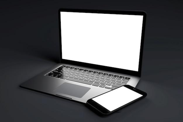 Макет устройств на темном фоне - 3d-рендеринг
