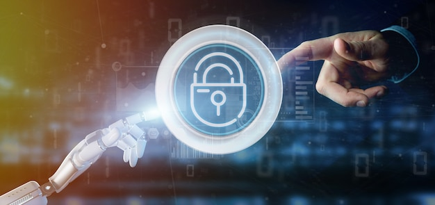 Киборг держит значок замка безопасности замка со статистикой и рендеринга двоичного кода 3d