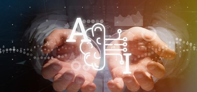Бизнесмен держа значок искусственного интеллекта с переводом половинного мозга и половинной цепи 3d