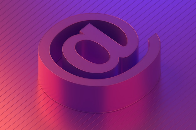 Почтовый символ, свяжитесь с нами по электронной почте в красочном освещении, 3d-рендеринг