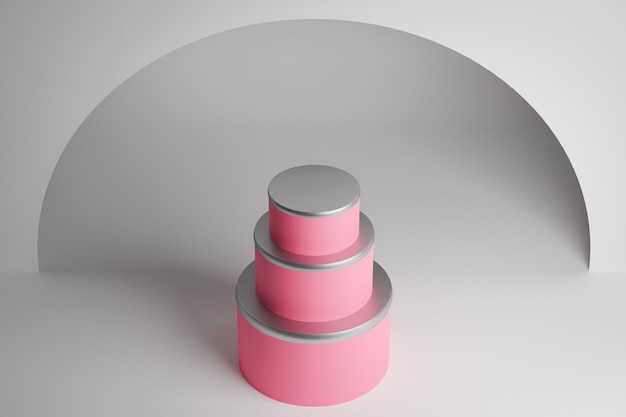 3d рендеринг трехуровневый свадебный торт. крупный план пирамиды равнобедренного розового цвета, постамент. сцена из кругов на белой стене