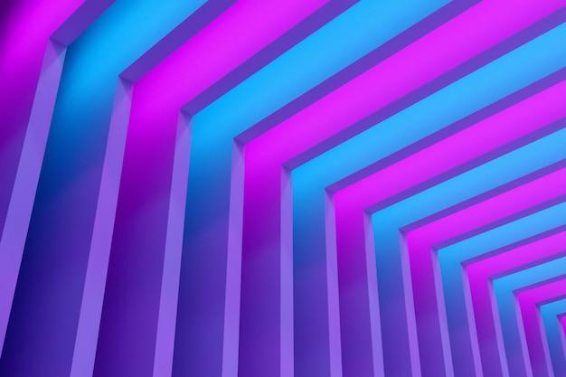 Иллюстрация неона конца-вверх 3d. геометрическая арка из синих и розовых неоновых рамок. простые геометрические фигуры в ряд.