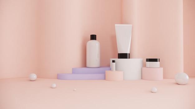 Маркетинг рекламы красотки концепции комплекта продукта косметической бутылки на пастельной предпосылке, переводе 3d