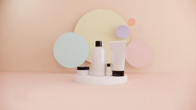 Маркетинг косметики концепции комплекта продукта косметической бутылки на пастельной предпосылке, переводе 3d