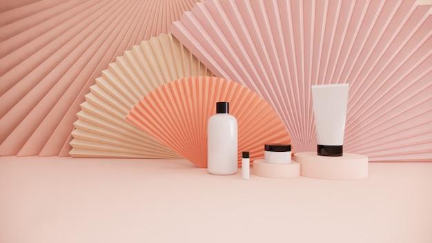 Маркетинговый маркетинг концепции комплекта продукта косметической бутылки на пастельной предпосылке, переводе 3d
