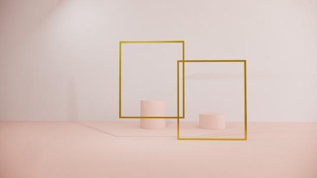 Косметический маркетинг концепции красоты на пастельной предпосылке, переводе 3d