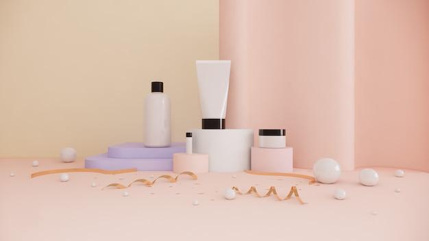 Маркетинг красоты концепции косметического продукта сливк бутылки установленный на пастели, переводе 3d