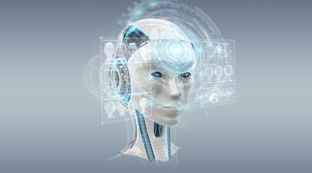 Цифровой искусственный интеллект киборг интерфейс 3d рендеринг