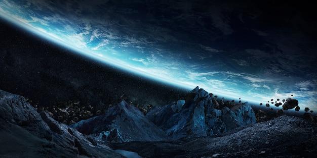 地球の3dレンダリングをクラッシュさせようとしている巨大な小惑星
