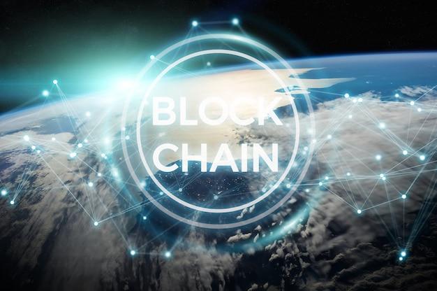 地球上のブロックチェーン3dレンダリング