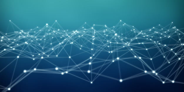 フローティング白と青のドットネットワーク3dレンダリング