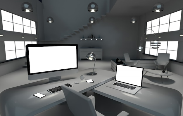 Современный темный стол офисный интерьер с компьютером и устройствами рендеринга 3d