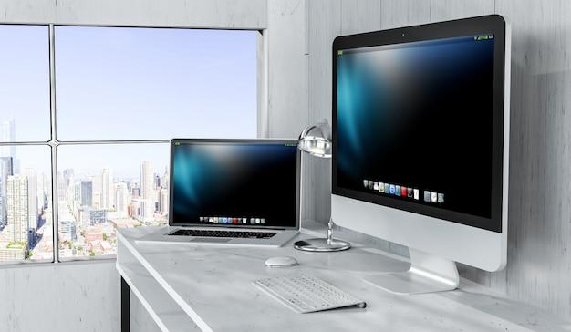コンピューターとデバイスを備えたモダンなデスクトップインテリア3dレンダリング