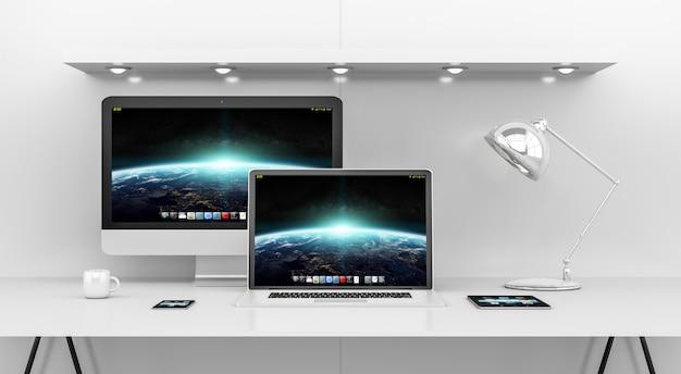 Современный белый интерьер стола с компьютером и устройствами 3d-рендеринга