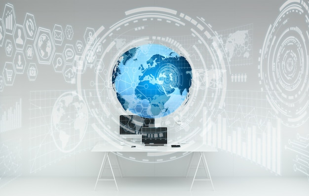 Рабочее место с современными устройствами и голограммными экранами 3d-рендеринга