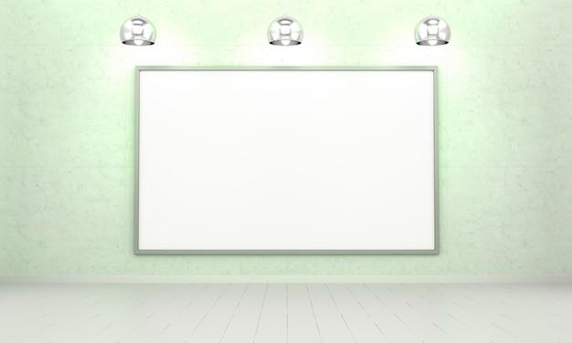 Белые заготовки холста на стене 3d-рендеринга