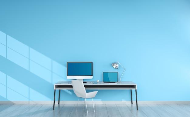 Современный синий настольный интерьер с устройствами 3d-рендеринга