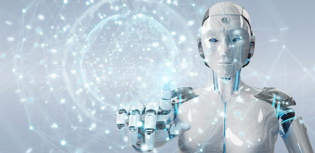 Белая женщина робот с использованием цифрового экрана интерфейса 3d-рендеринга