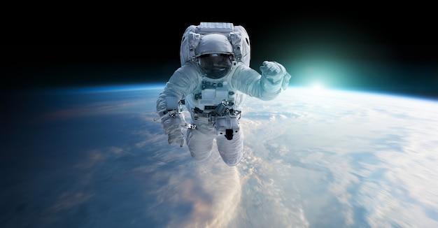 宇宙飛行士が宇宙に浮かぶ3dレンダリング