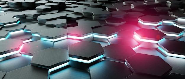 Черный синий и розовый шестиугольники фоновый узор 3d-рендеринга