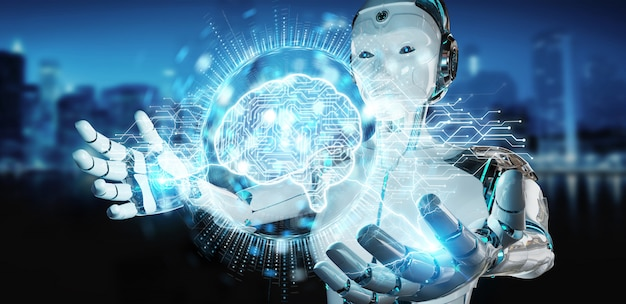 Белая женщина-гуманоид с использованием цифровой голограммы 3d значок искусственного интеллекта