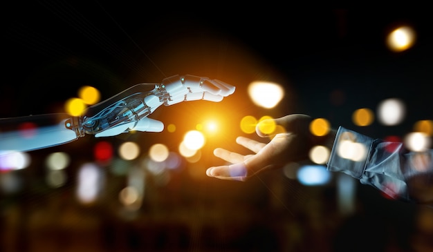Белая рука киборга собирается прикоснуться к человеческой руке 3d-рендеринга
