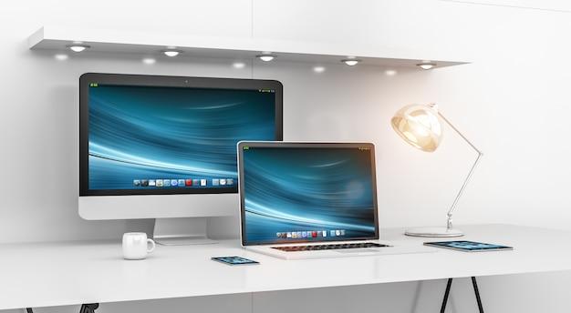 Современный белый интерьер стола с компьютером и устройствами рендеринга 3d