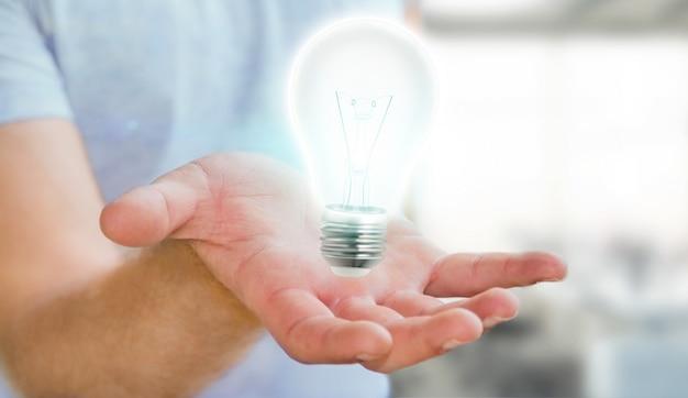 Бизнесмен держит блестящую лампочку в руке. 3d рендеринг.
