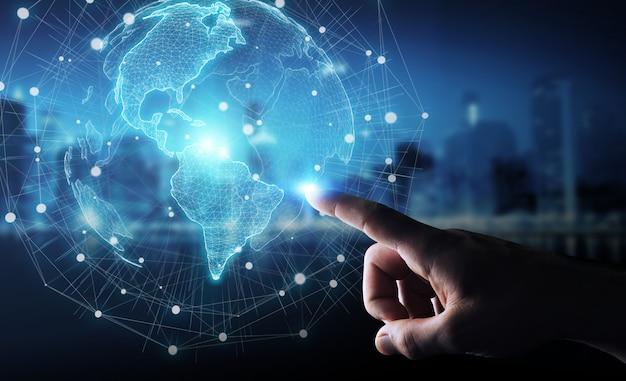Бизнесмен используя перевод карты мира интерфейса сша 3d