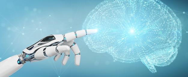 人工知能3dレンダリングを作成する白人男性ヒューマノイド