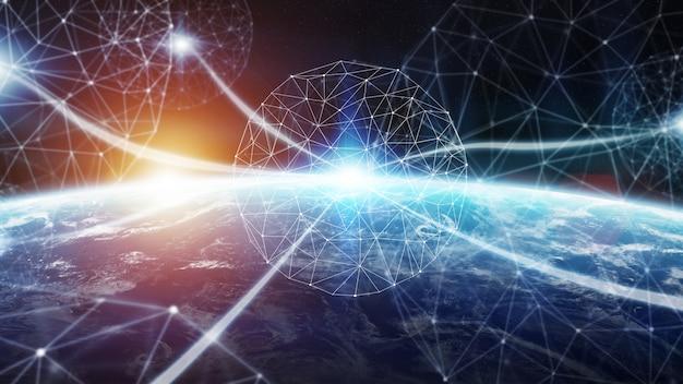 惑星地球3dレンダリング上の接続システムとデータ交換