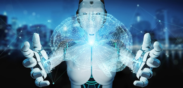 Белый человек гуманоид, создавая искусственный интеллект 3d-рендеринга