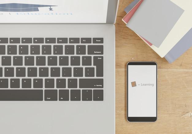 Смартфон, ноутбук и книги на деревянном столе, онлайн-концепция школы 3d-рендеринга