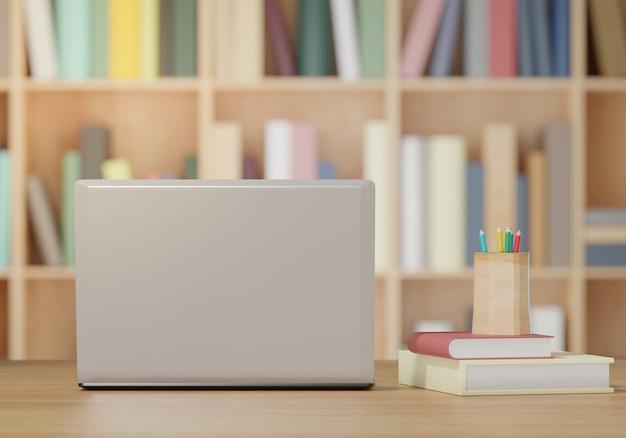 Ноутбук и книги на деревянный стол, обратно в школу концепции 3d-рендеринга