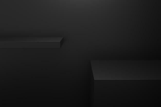 暗闇の概念を持つ製品スタンド。 3dレンダリング。