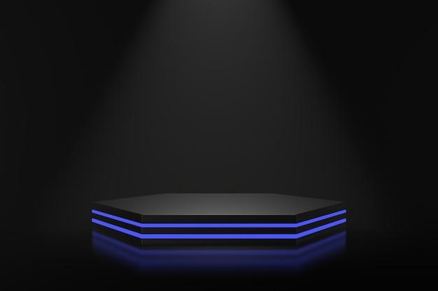 青い照明付きの製品スタンドのデザイン。 3dレンダリング。