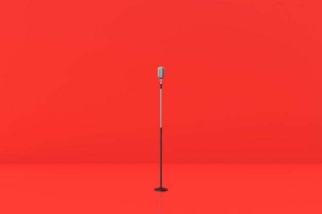 赤の背景のマイクモデル。 3dレンダリング。