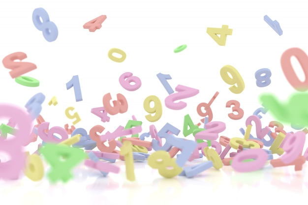 Абстрактный фон падающих чисел. 3d-рендеринг.