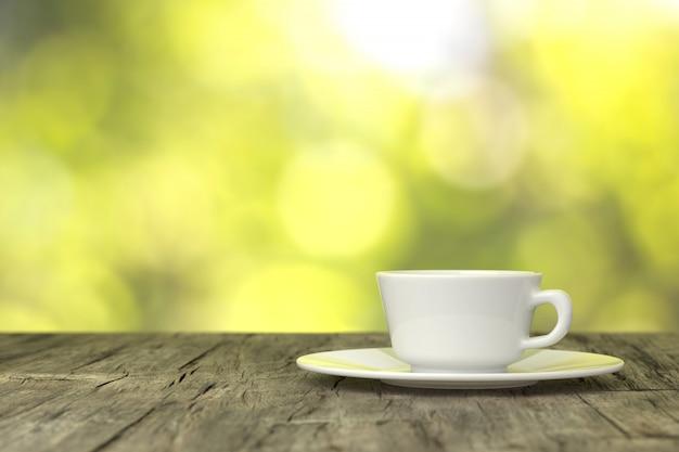 木製の床のコーヒーカップ。 3dレンダリング。