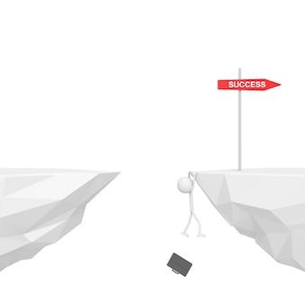 失敗の概念が付いている崖に掛かっている実業家。 3dレンダリング