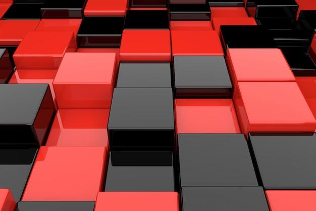黒と赤のキューブの抽象的な背景。 3dレンダリング