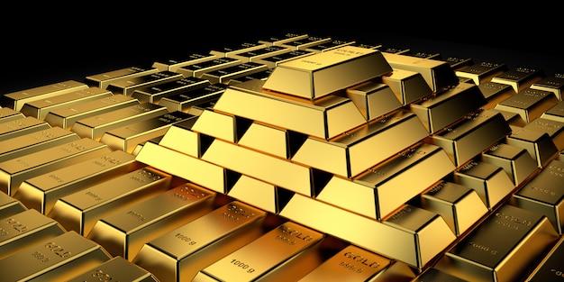 Цена на золото для баннера сайта. 3d-рендеринг золотых слитков.