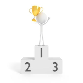 勝者の概念と金の杯を持っている人モデル。 3dレンダリング