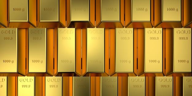 Золотые слитки с концепцией веб-баннера. 3d-рендеринг.